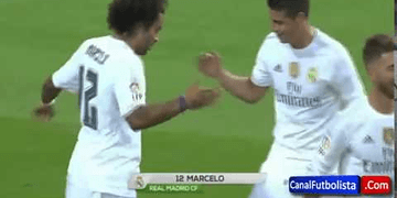 james rodriguez and Marcelo handshake!